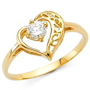 Jewelry - 14k Solid yellow Gold Heart Ring 4 5 6 7 8 9